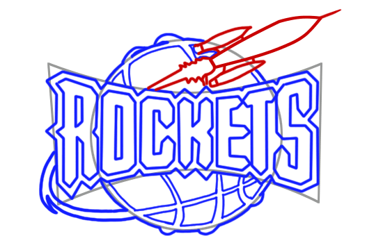 Learn easy to draw houston rockets step 09