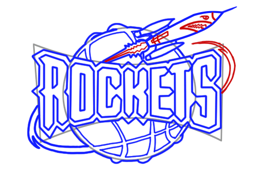 Learn easy to draw houston rockets step 10