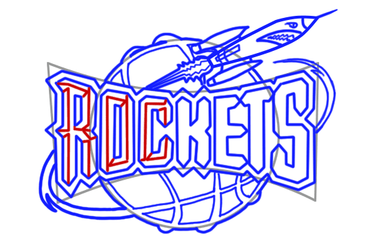Learn easy to draw houston rockets step 11
