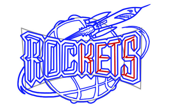 Learn easy to draw houston rockets step 12