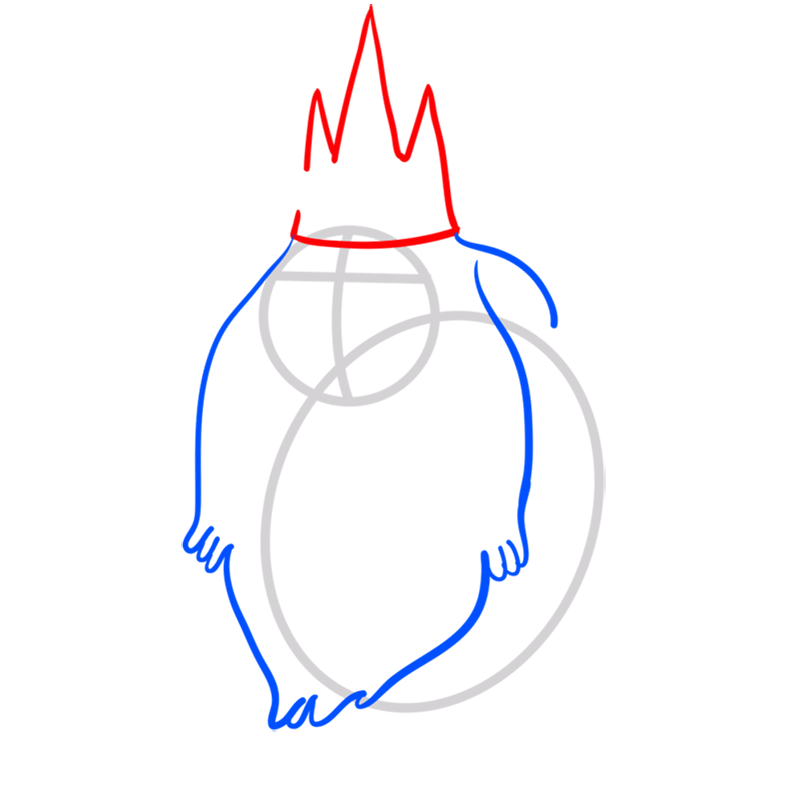 Learn easy to draw ice king step 03
