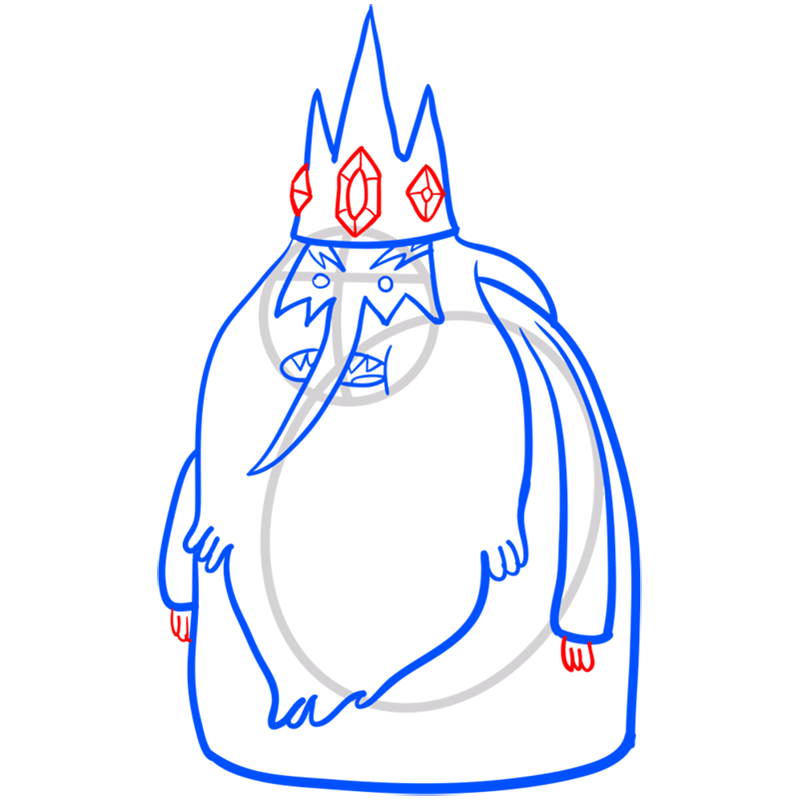 Learn easy to draw ice king step 08