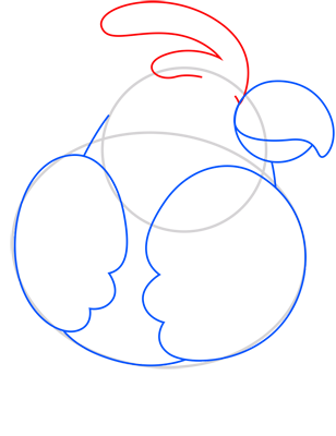 Learn easy to draw kakadu step 05