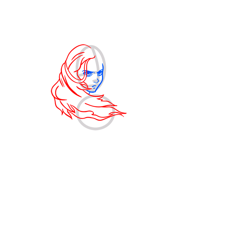 Learn easy to draw katara step 04