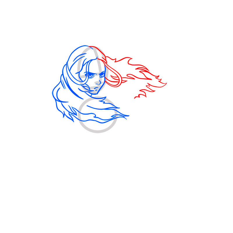 Learn easy to draw katara step 05