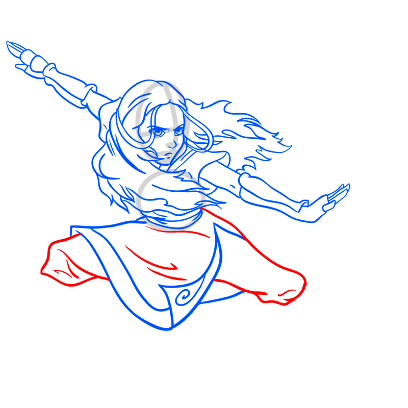 Learn easy to draw katara step 09