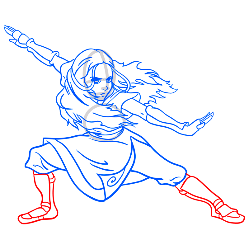 Learn easy to draw katara step 10