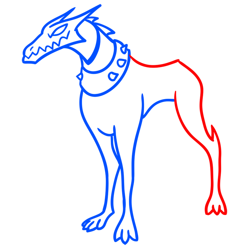 Learn easy to draw khyber dog step 05