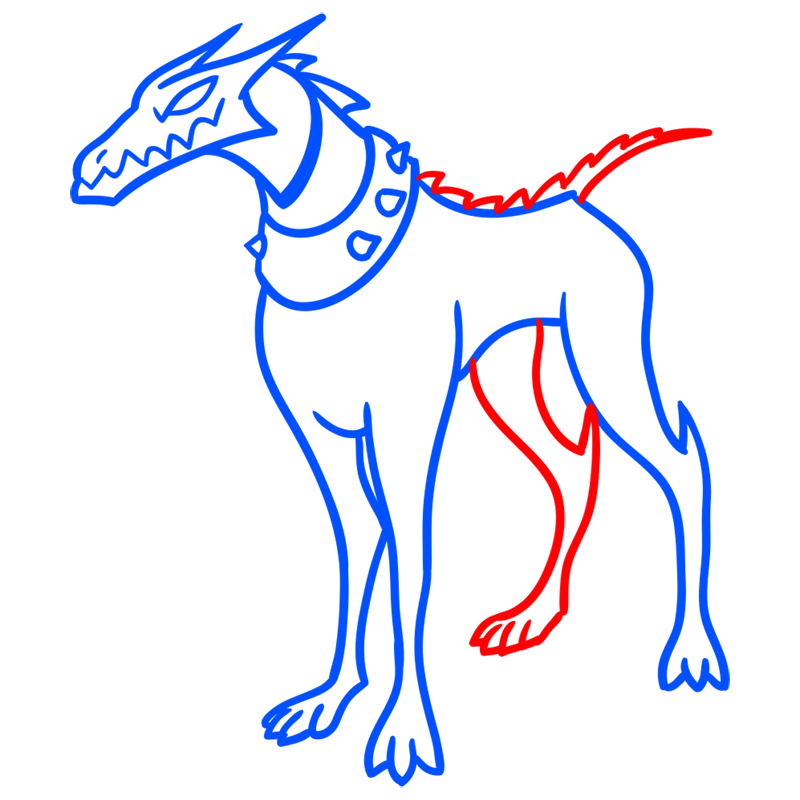 Learn easy to draw khyber dog step 06