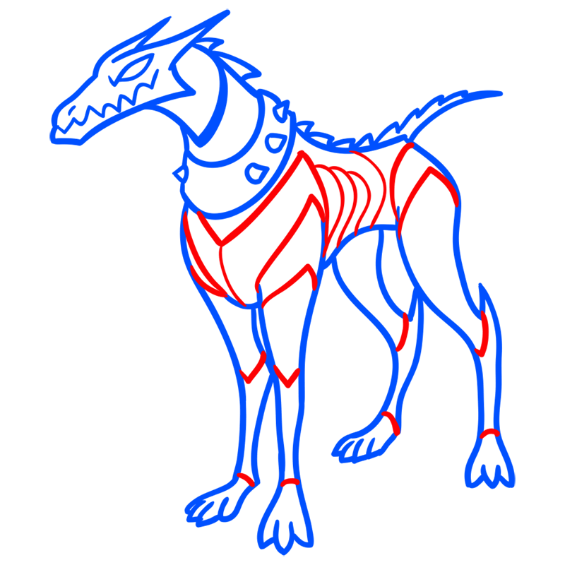 Learn easy to draw khyber dog step 07