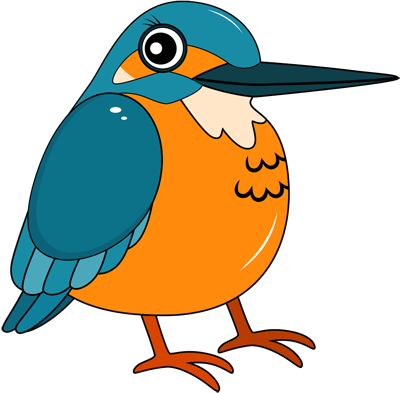 Learn easy to draw kingfisher step 12