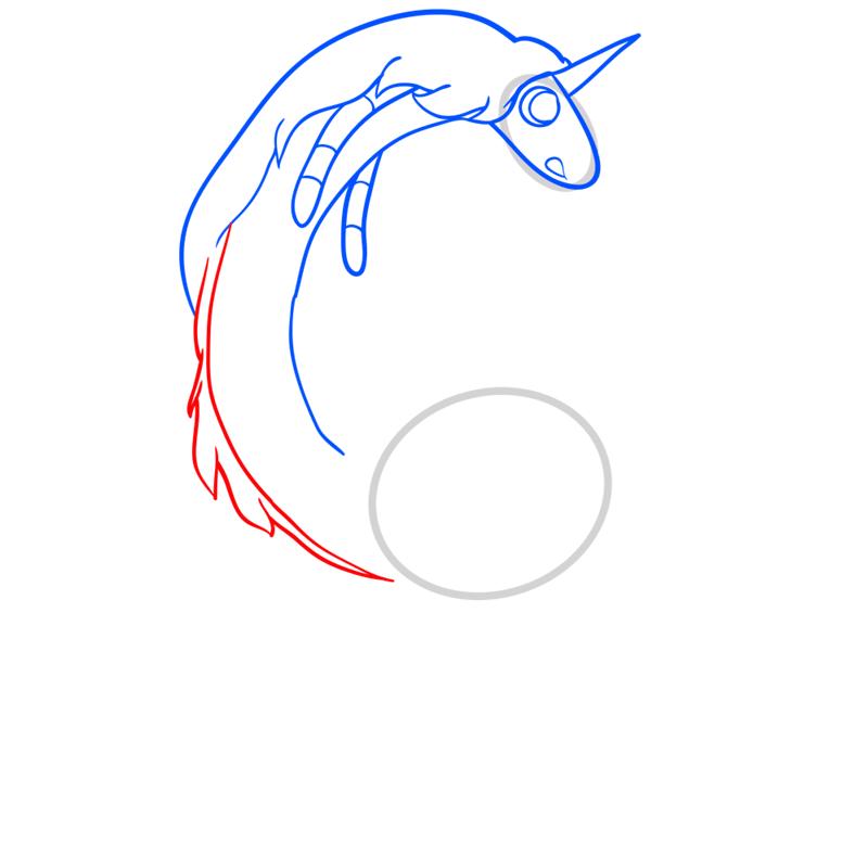 Learn easy to draw lady rainicorn step 06