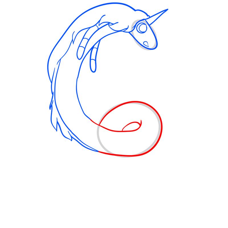 Learn easy to draw lady rainicorn step 07