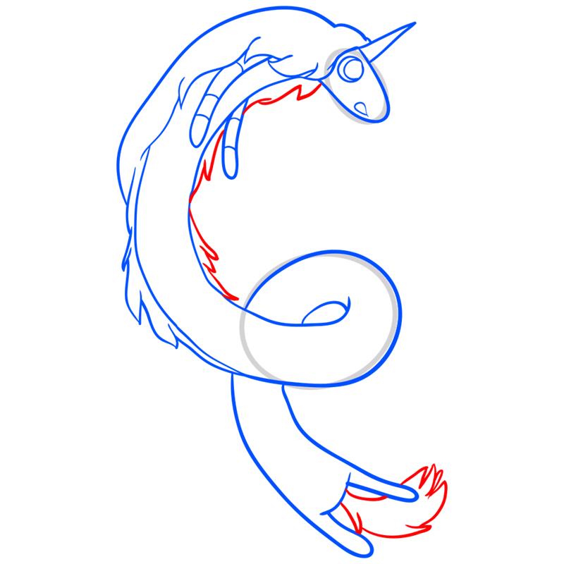 Learn easy to draw lady rainicorn step 09