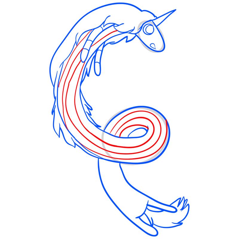 Learn easy to draw lady rainicorn step 10