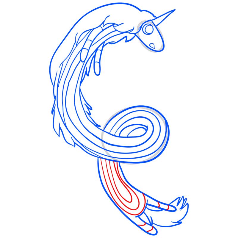 Learn easy to draw lady rainicorn step 11