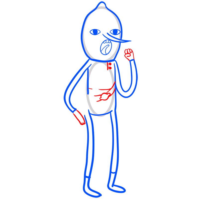 Learn easy to draw lemongrab step 07