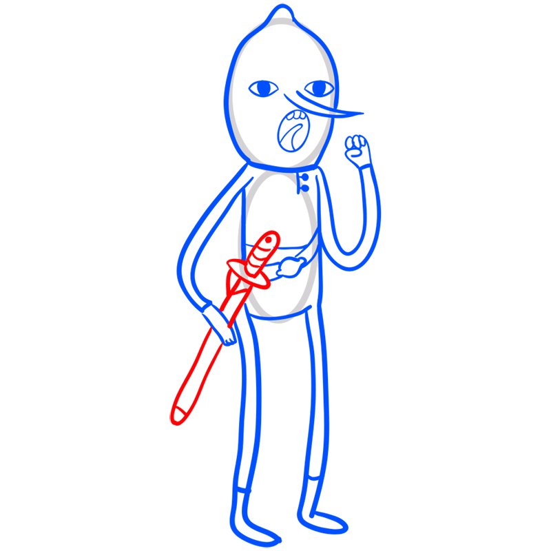 Learn easy to draw lemongrab step 08