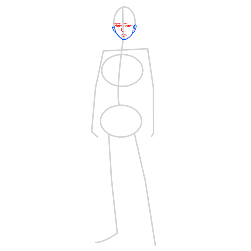 Learn easy to draw levi ackerman step 03