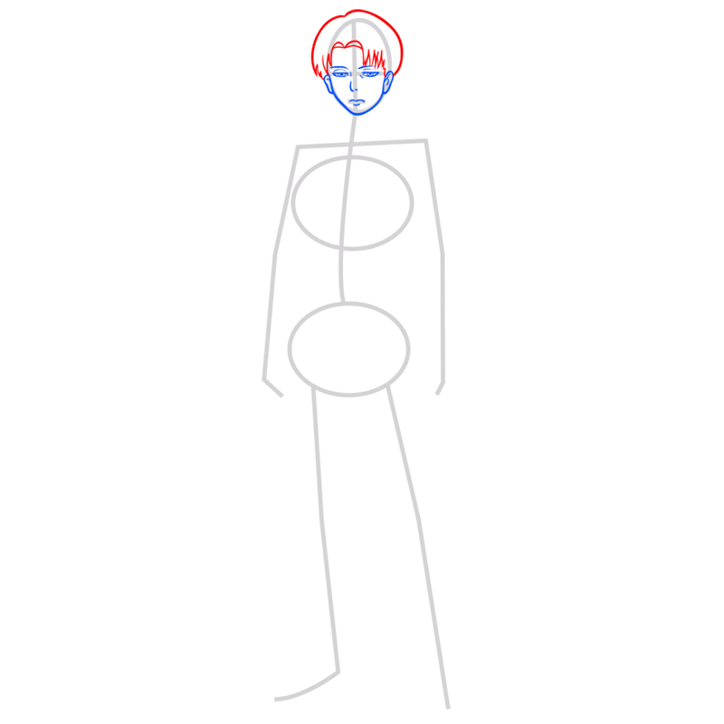 Learn easy to draw levi ackerman step 04