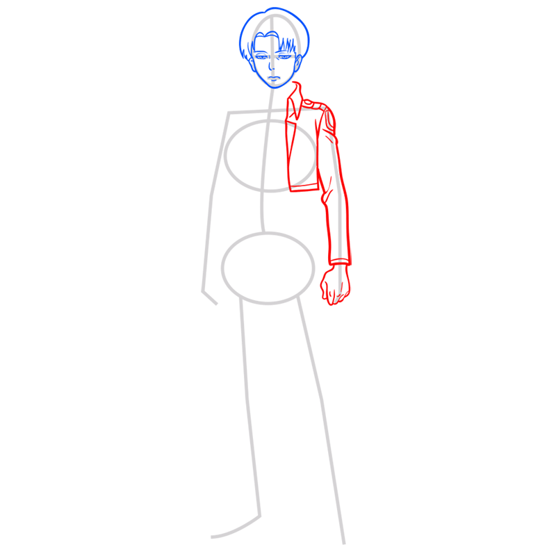 Learn easy to draw levi ackerman step 05