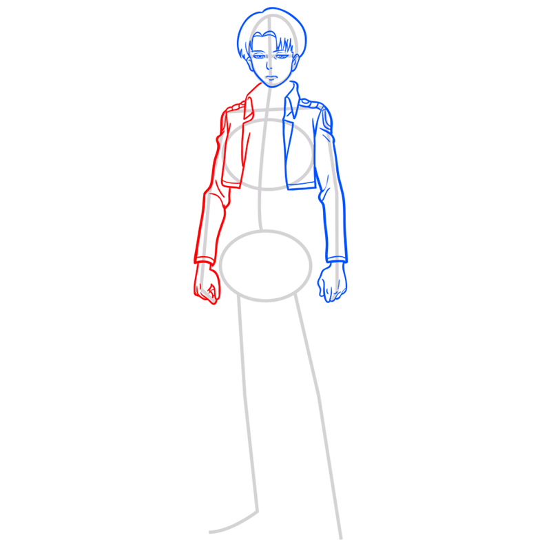 Learn easy to draw levi ackerman step 06