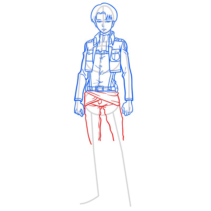 Learn easy to draw levi ackerman step 09