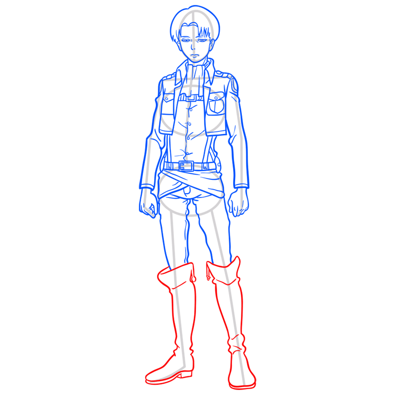Learn easy to draw levi ackerman step 10