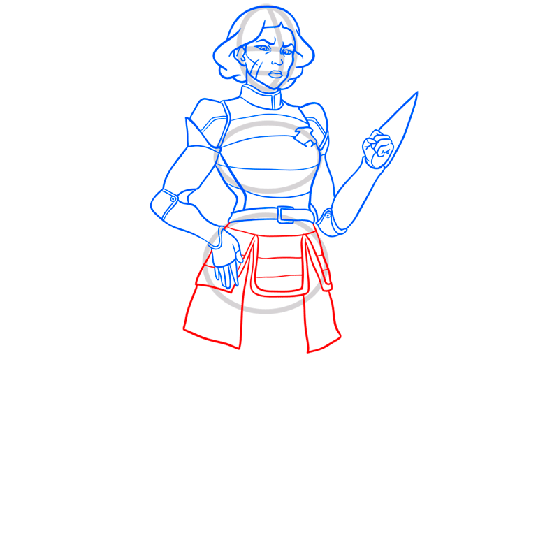 Learn easy to draw lin beifong step 08