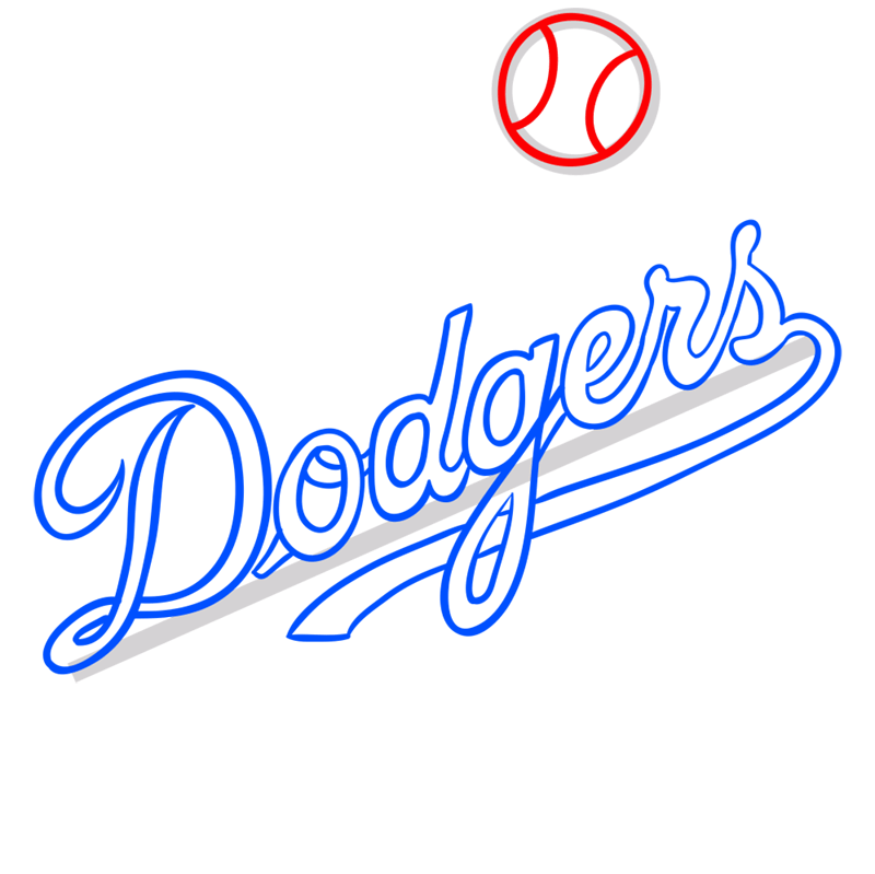 Learn easy to draw los angeles dodgers step 07
