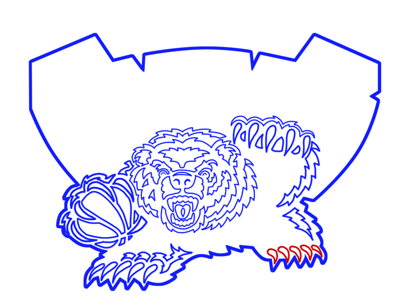 Learn easy to draw memphis grizzlies step 18