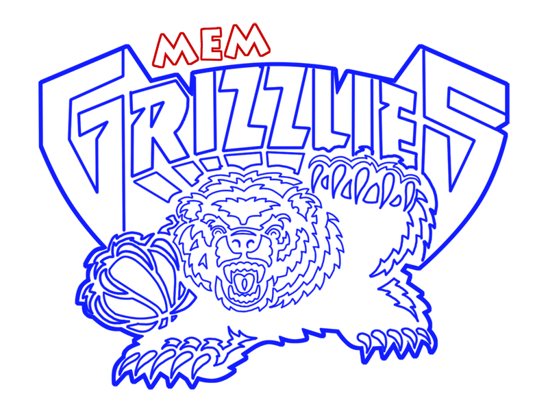 Learn easy to draw memphis grizzlies step 22