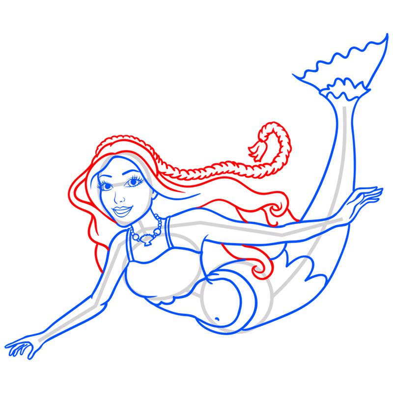 Learn easy to draw merliah step 09