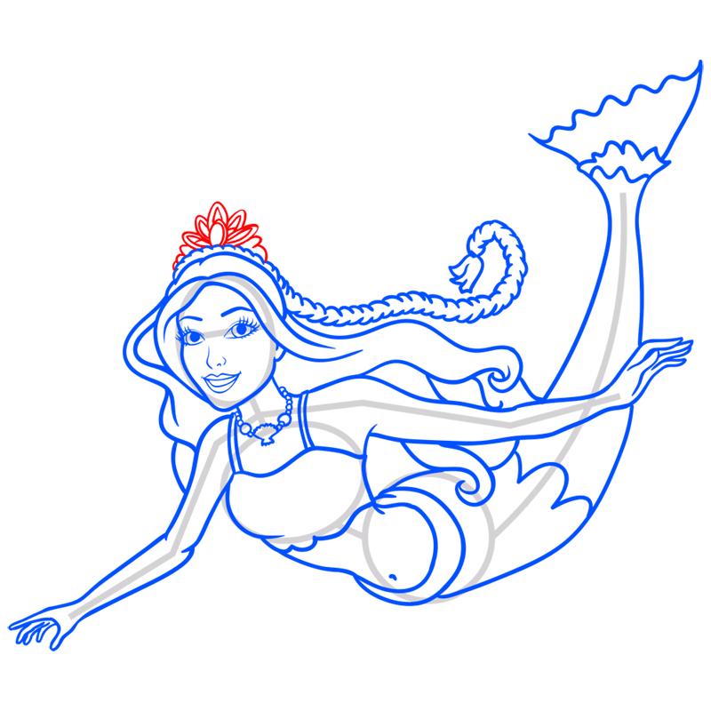 Learn easy to draw merliah step 10