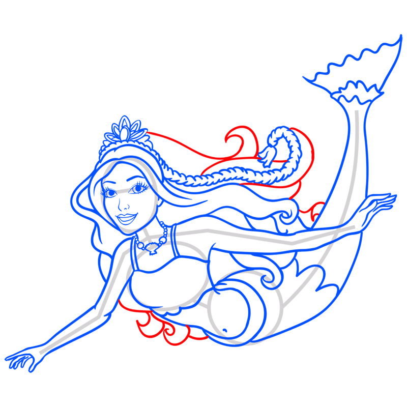 Learn easy to draw merliah step 11