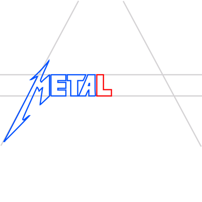 Learn easy to draw metallica step 07