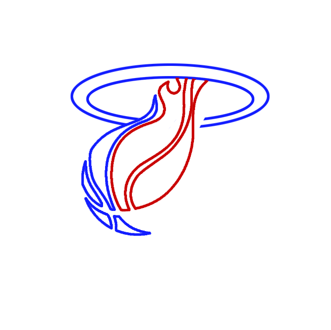 Learn easy to draw miami heat step 03