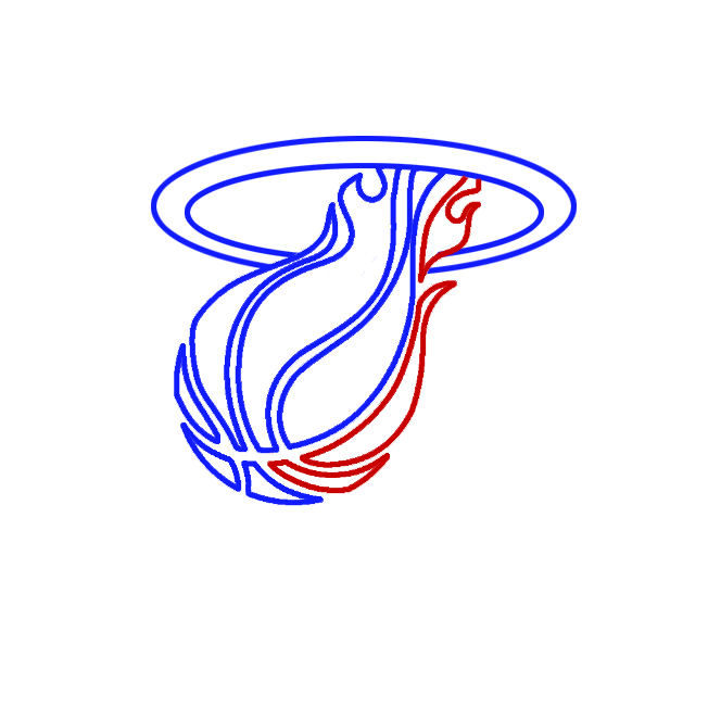 Learn easy to draw miami heat step 04