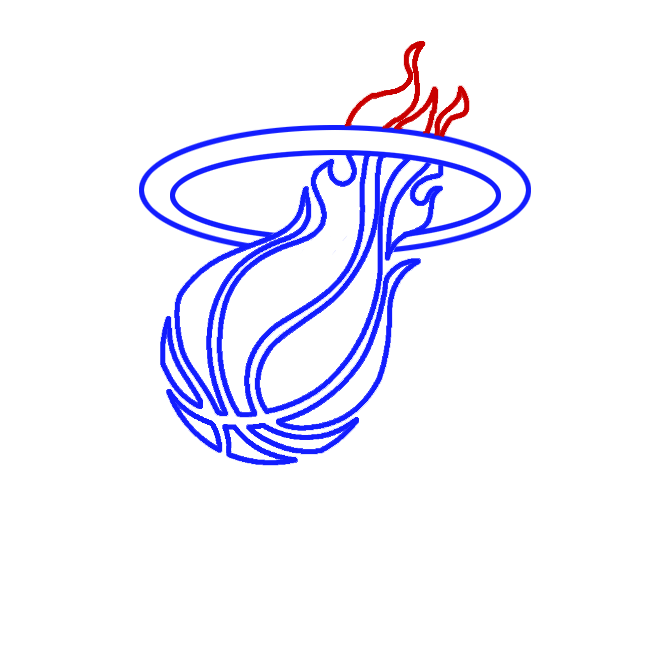 Learn easy to draw miami heat step 05