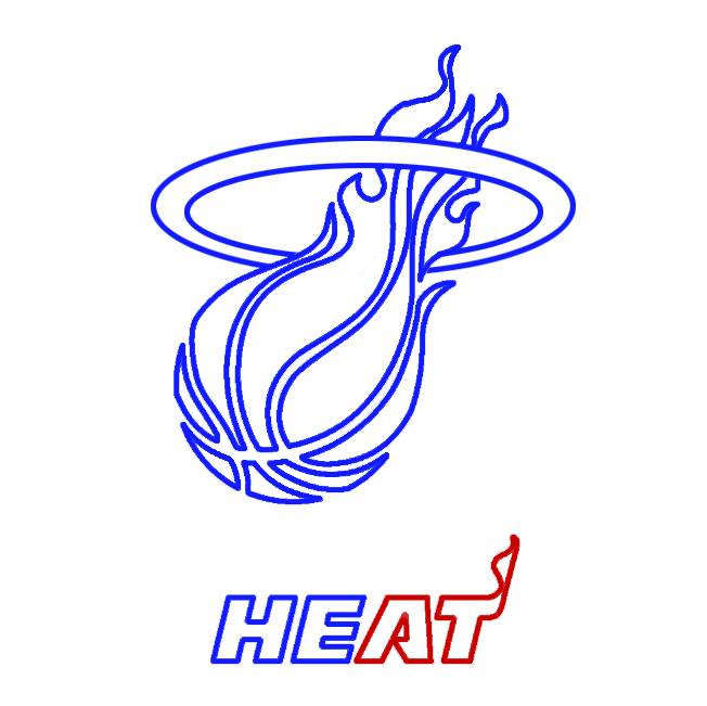 Learn easy to draw miami heat step 07