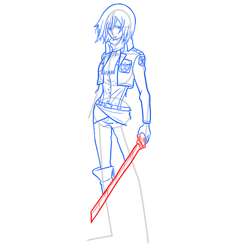 Learn easy to draw mikasa ackerman step 10