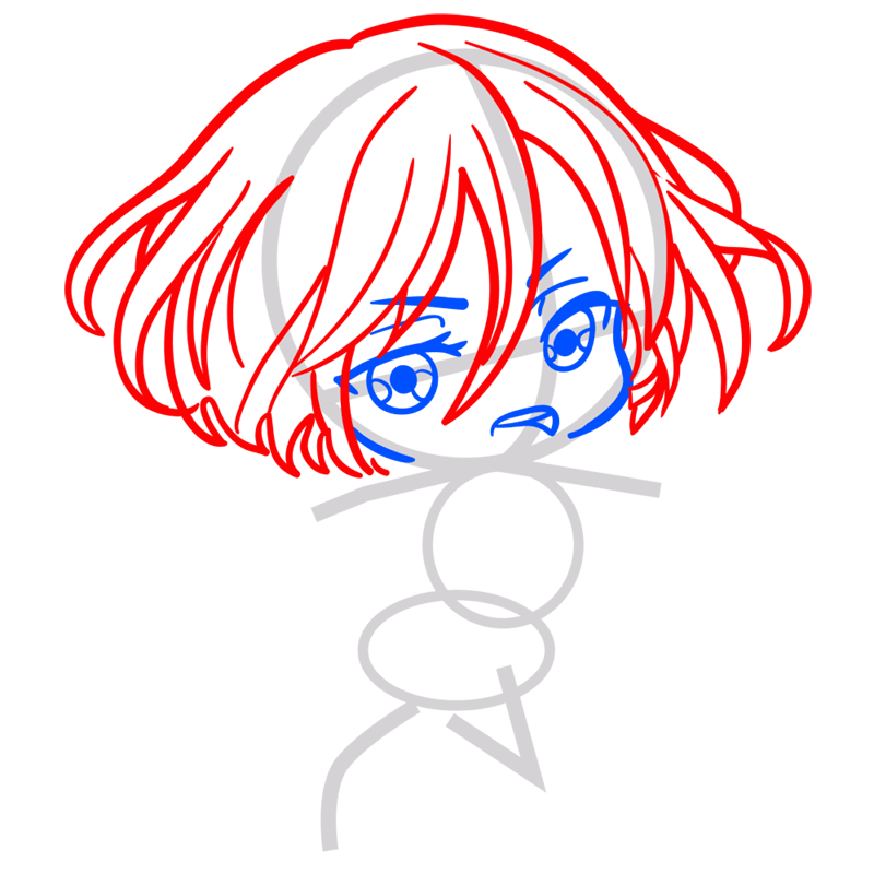 Learn easy to draw mikasa chibi step 03