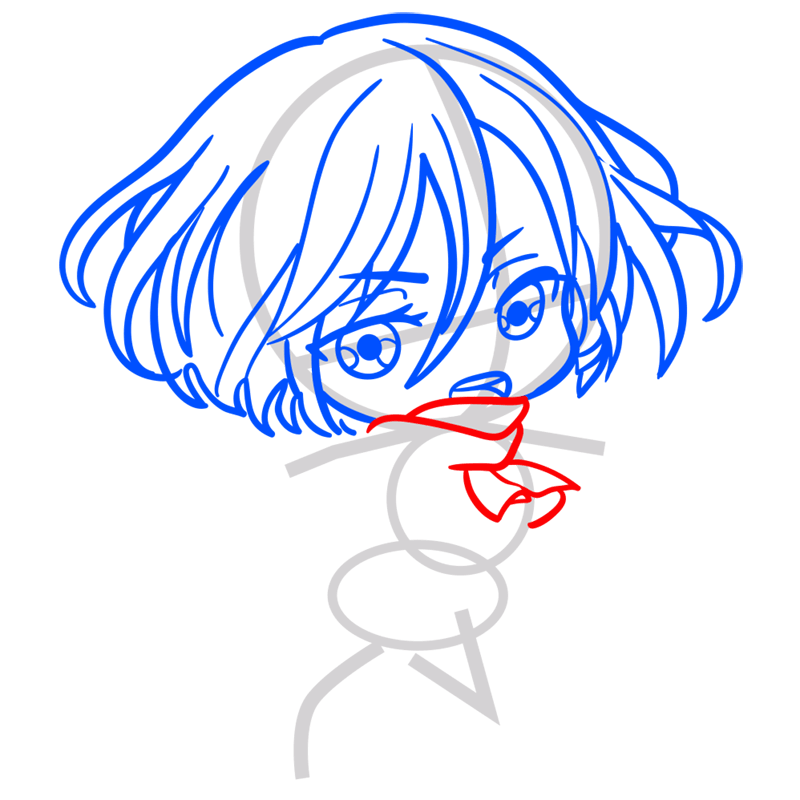 Learn easy to draw mikasa chibi step 04