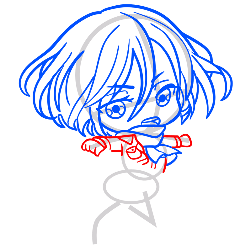 Learn easy to draw mikasa chibi step 05