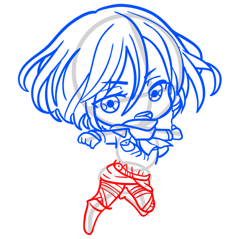 Learn easy to draw mikasa chibi step 06