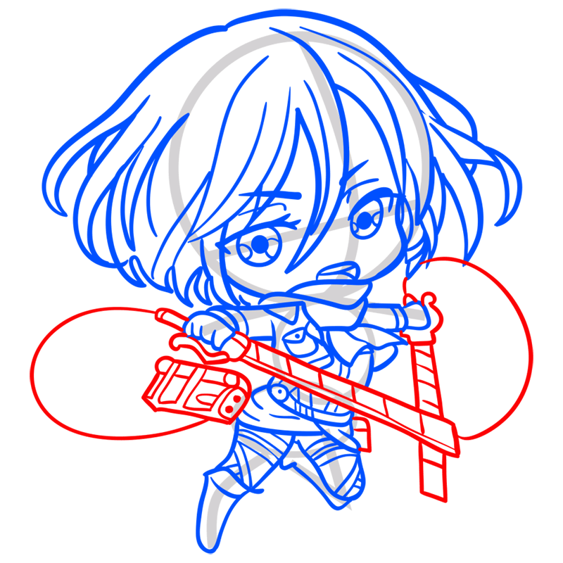Learn easy to draw mikasa chibi step 07