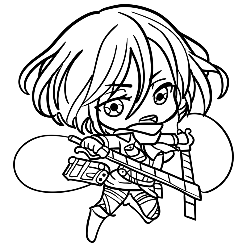 Learn easy to draw mikasa chibi step 08