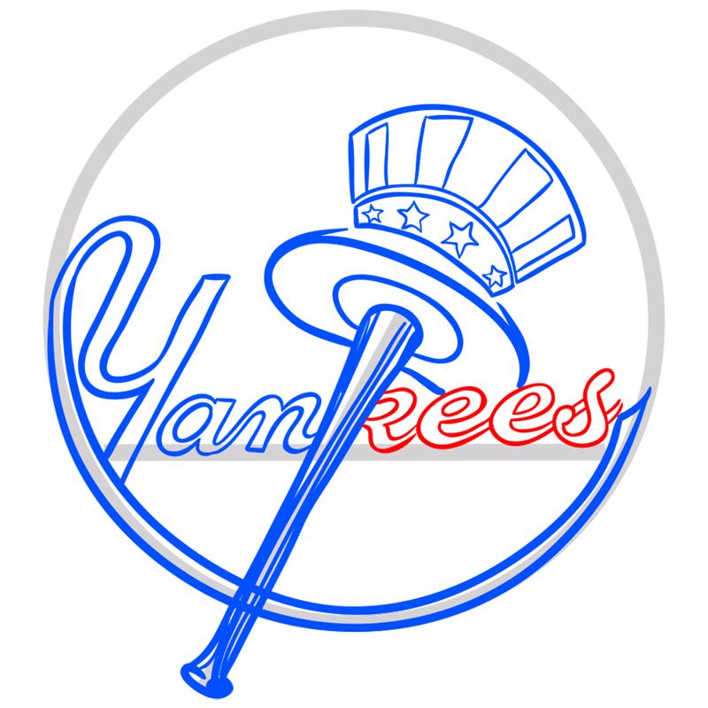 Learn easy to draw n.y yankees step 08