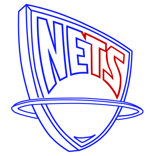 Learn easy to draw new jersey nets step 07