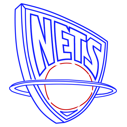Learn easy to draw new jersey nets step 08